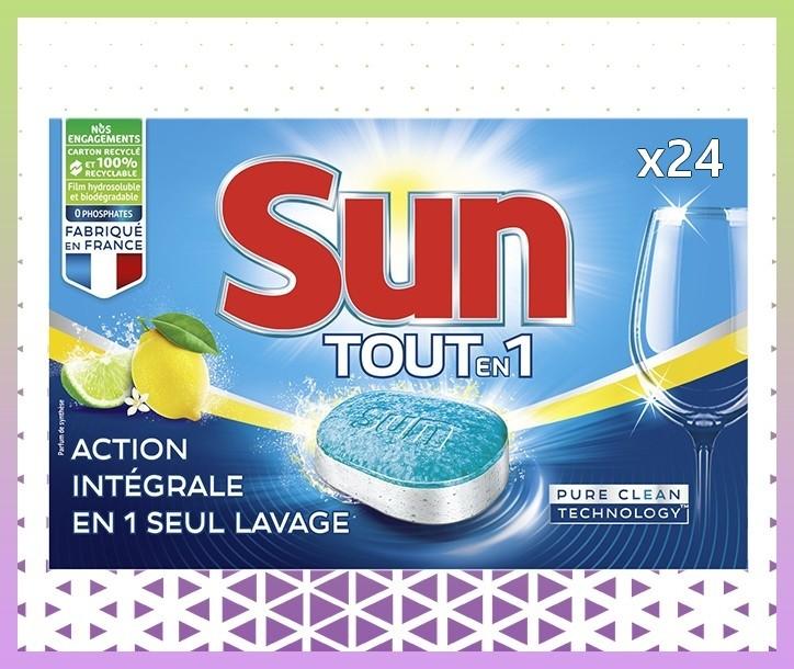 SUN TABLETTE LAVE-VAISSELLES TOUT EN 1 PARFUM CITRON - 24 TABLETTES