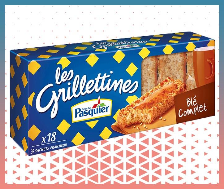 BISCOTTES GRILLETINES BLÉ COMPLET PASQUIER - PAQUET DE 18