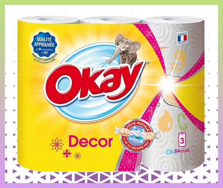 OKAY ESSUIE-TOUT DÉCORÉ - 3 ROULEAUX